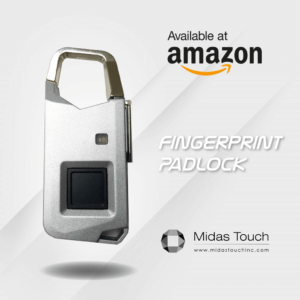 Midas Touch biometric fingerprint identification padlock