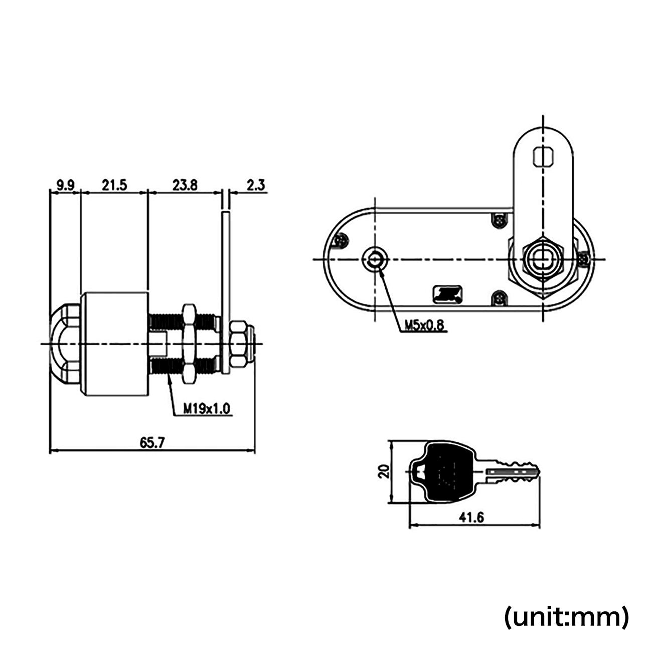 Diemension of fingerprint drawer lock-3 | Midas Touch